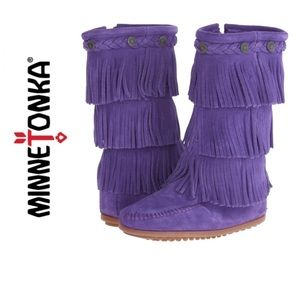 Minnetonka purple suede girls moc fringe knee fall